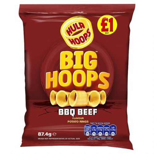 Hula Hoops Big Hoops BBQ Beef Flavour Potato Rings 87.4g (UK)